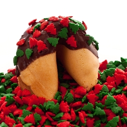 Traditional vanilla fortune cookies covered in dark chocolate with Christmas tree sprinkles. Also choose from milk and white chocolate.