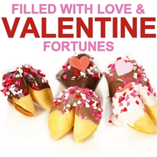 Fortune Cookies with messages for Valentine's Day. These gourmet fortune cookies are dipped in milk, white and dark chocolate then sprinkled with mini hearts of love.