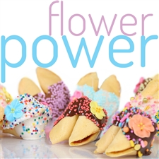 Adorable Springtime fortune cookies decorated with flowers, and springy colored chocolates