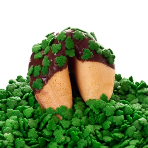 Traditional vanilla fortune cookies covered in dark chocolate with lucky shamrock sprinkles! Also choose from milk and white chocolate dipped fortune cookies.