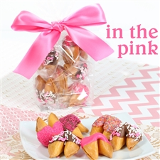 Six Pink Ribbon vanilla fortune cookies, each hand dipped in Belgian chocolate.