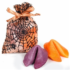 One Orange and one Fruit Punch flavored fortune cookie inside a spooky web organza bag. Each cookie has a Halloween fortune inside.