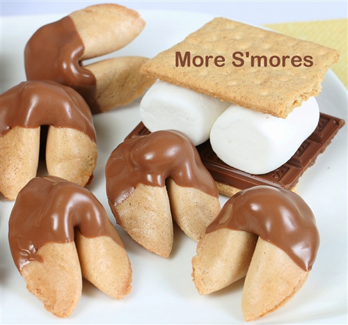 S'more fortune cookies, graham cracker cookies dipped in marshmallow fluff and milk chocolate.