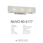NUVO 60-5177 Lynne 3-Light Polished Nickel Halogen Vanity Light Fixture with Frosted Glass