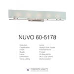 NUVO 60-5178 Lynne 5-Light Polished Nickel Halogen Vanity Light Fixture with Frosted Glass
