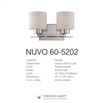 Nuvo 60-5202 Parallel 2-Light Wall Mounted Vanity Light in Polished Nickel Finish with Etched Opal Glass