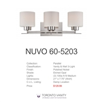 Nuvo 60-5203 Parallel 3-Light Wall Mounted Vanity Light in Polished Nickel Finish with Etched Opal Glass