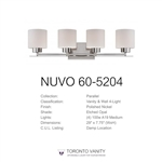 Nuvo 60-5204 Parallel 4-Light Wall Mounted Vanity Light in Polished Nickel Finish with Etched Opal Glass