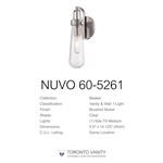 Nuvo 60-5261 Beaker 1-Light Decorative Wall Sconce in Brushed Nickel Finish with Clear Glass and Vintage Light Bulb