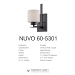 Nuvo 60-5301 Parallel 1-Light Wall Mounted Vanity Light in Aged Bronze Finish with Etched Opal Glass