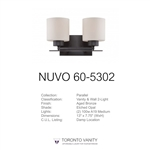 Nuvo 60-5302 Parallel 2-Light Wall Mounted Vanity Light in Aged Bronze Finish with Etched Opal Glass