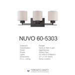 Nuvo 60-5303 Parallel 3-Light Wall Mounted Vanity Light in Aged Bronze Finish with Etched Opal Glass