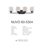 Nuvo 60-5304 Parallel 4-Light Wall Mounted Vanity Light in Aged Bronze Finish with Etched Opal Glass
