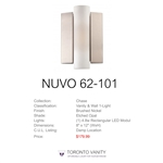 Nuvo 62-101 Chase 1-Light Wall Mounted LED Wall Sconce with Etched Opal Glass in Brushed Nickel Finish