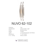 Nuvo 62-102 Trax 1-Light Wall Mounted LED Wall Sconce with Frosted Glass in Brushed Nickel Finish