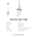 Nuvo 62-106 Frame 1-Light LED Mini Pendant Lights with Frosted Glass in Brushed Nickel Finish