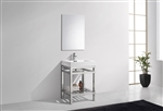 "Kube Cisco 24"" Stainless Steel Console w/ White Acrylic Sink - Chrome"
