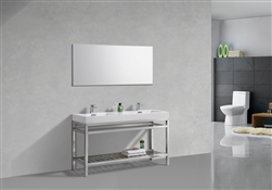 "Kube Cisco 60"" Stainless Steel Console w/ White Acrylic Double Sink - Chrome"