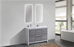 KubeBath Dolce 48'' Double Sink Ash Gray Modern Bathroom Vanity