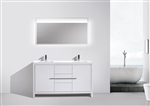 KubeBath Dolce 60'' Double Sink High Gloss White Modern Bathroom Vanity