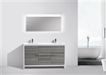 KubeBath Dolce 60'' Double Sink Gray Oak Modern Bathroom Vanity
