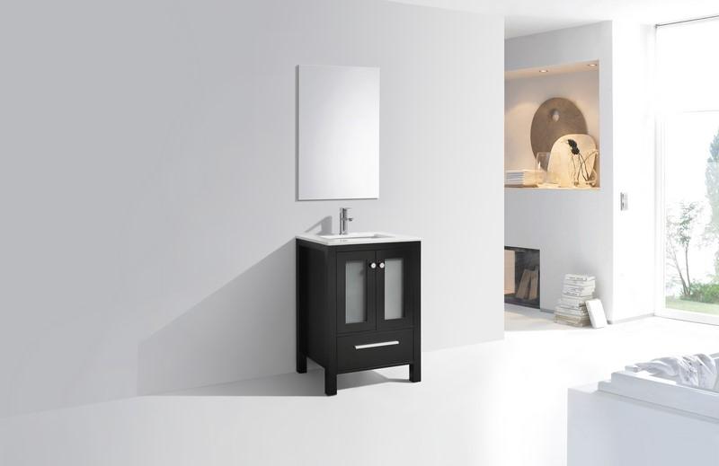 Brezza 24 espresso modern bathroom vanity w frosted - Bathroom vanity with frosted glass doors ...