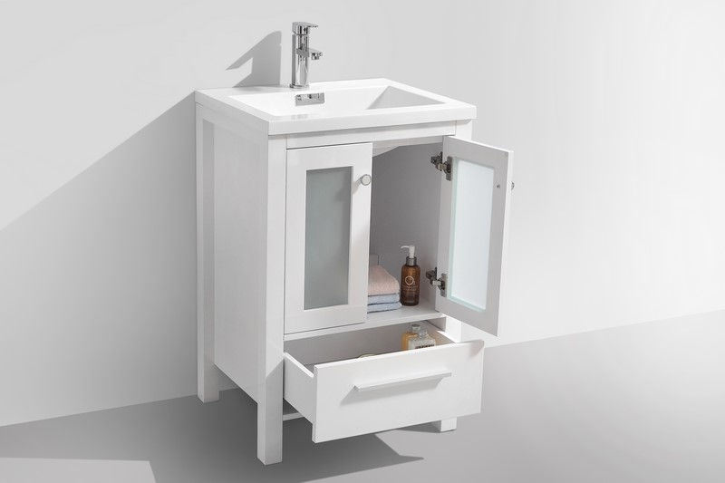 Brezza 24 high gloss white modern bathroom vanity w frosted glass doors for Bathroom vanity with frosted glass doors