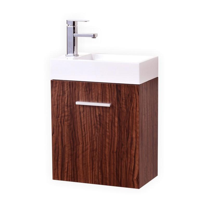 Bliss 18 39 39 Walnut Wall Mounted Modern Bathroom Vanity