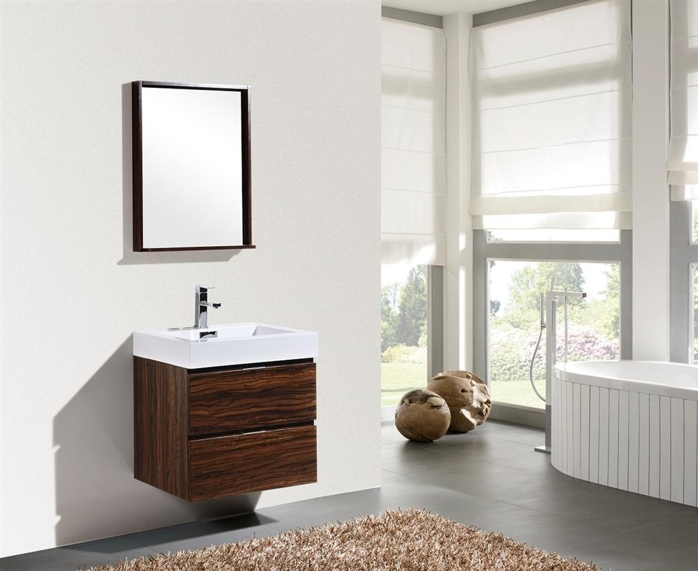 Bliss 24 Walnut Wall Mount Modern Bathroom Vanity