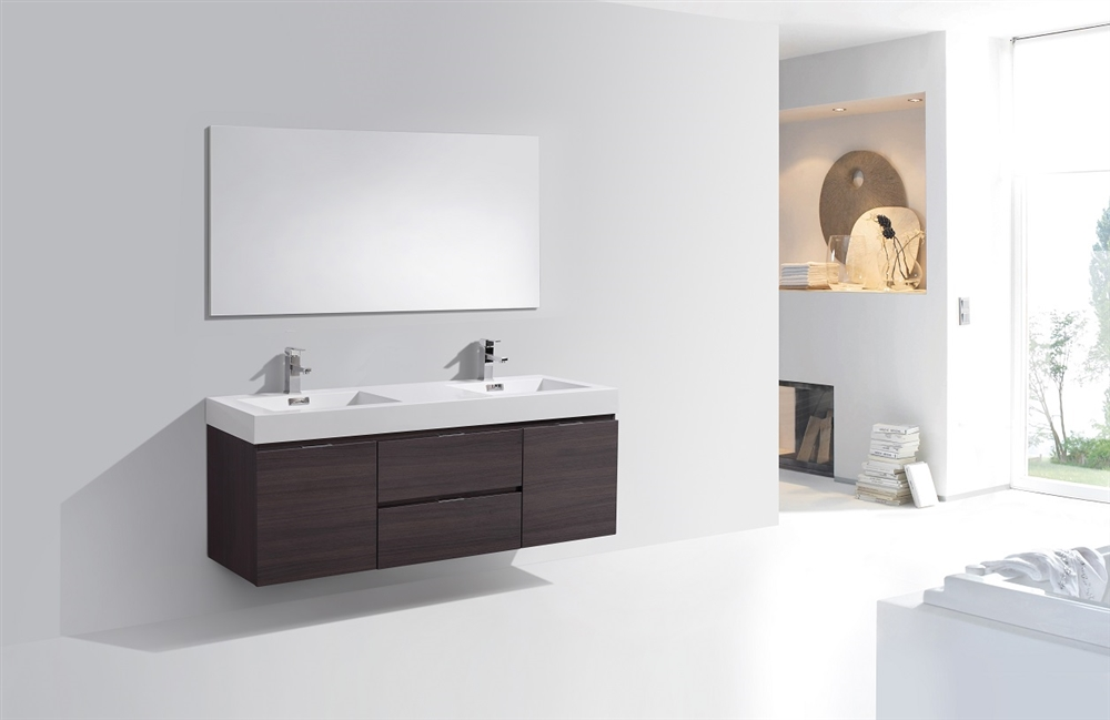 Bliss 60 Gloss Gray Oak Mount Double Sink Modern Bathroom Vanity
