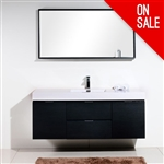 "Bliss 60"" High Gloss Black Wall Mount  Double Sink"