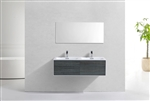 "Divario 48"" Ocean Gray Wall Mount Modern Bathroom Vanity"