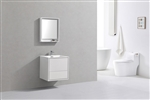 "DeLusso 24"" High Glossy White Wall Mount Modern Bathroom Vanity"