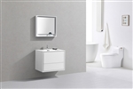 "DeLusso 30"" High Glossy White Wall Mount Modern Bathroom Vanity"