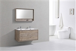 "DeLusso 48"" Double Sink Nature Wood Wall Mount Modern Bathroom Vanity"