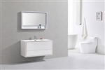 "DeLusso 48"" Single Sink High Glossy White Wall Mount Modern Bathroom Vanity"