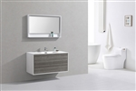 "DeLusso 48"" Single Sink Ash Gray Wall Mount Modern Bathroom Vanity"