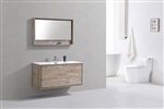 "DeLusso 48"" Single Sink Nature Wood Wall Mount Modern Bathroom Vanity"