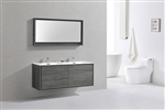 "DeLusso 60"" Double Sink Ocean Gray Wall Mount Modern Bathroom Vanity"