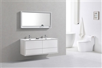 "DeLusso 60"" Double Sink High Glossy White Wall Mount Modern Bathroom Vanity"