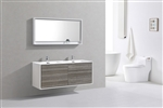 "DeLusso 59"" Double Sink Ash Gray Wall Mount Modern Bathroom Vanity"