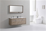 "DeLusso 60"" Double Sink Nature Wood Wall Mount Modern Bathroom Vanity"