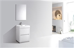 "Bliss  24"" White Floor Mount  Modern Bathroom Vanity"