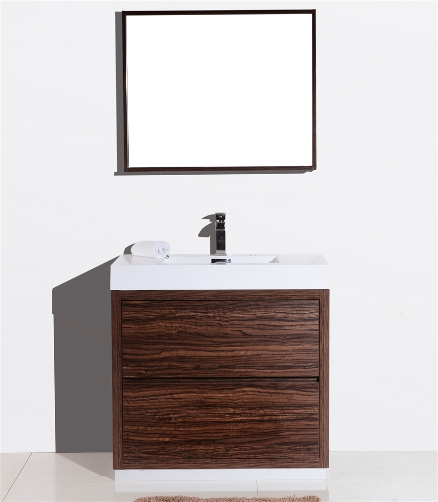 Bliss 36 Walnut Floor Mount Modern Bathroom Vanity