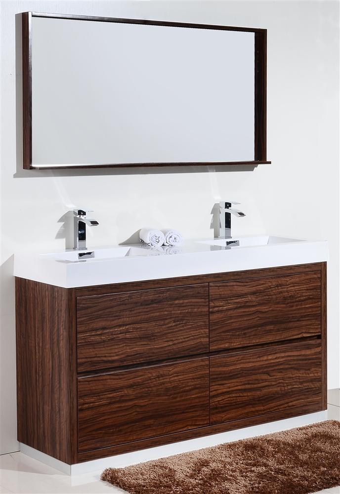 Bliss 60 floor moun double sink walnut modern bathroom vanity for Modern double sink bathroom vanity