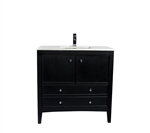 "Classic 36"" Black Vanity with Quartz Countertop"