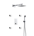 Aqua Piazza Thermostatic Brass Shower Set w/ 12″ Square Rain Shower, Handheld and 4 Body Jets