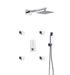 Aqua Piazza Thermostatic Brass Shower Set w/ 8″ Square Rain Shower, 4 Body Jets and Handheld