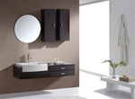 "Kube Esile 48"" Modern Wall Mount Bathroom Vanity Set - Black Walnut"