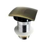 Kubebath Solid Brass Square Pop-Up Drain W/ Gold Bronze Finish - No Overflow